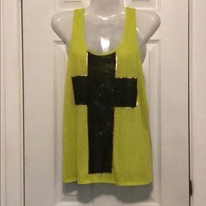 Neon yellow top with a cross